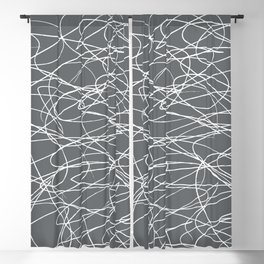 Hand Drawn Scribbles (Charcoal Grey) Blackout Curtain