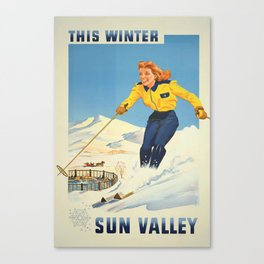 Vintage Travel Poster- This Winter Sun Valley, Idaho - Vintage Travel Sports Poster Canvas Print