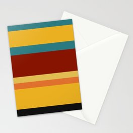 A smart combination of Police Blue, Ming, Khaki (Html/Css) (Khaki), Lanzones, Squash, Brownish Orange, Vermilion, Brick Red and Almost Black stripes. Stationery Cards