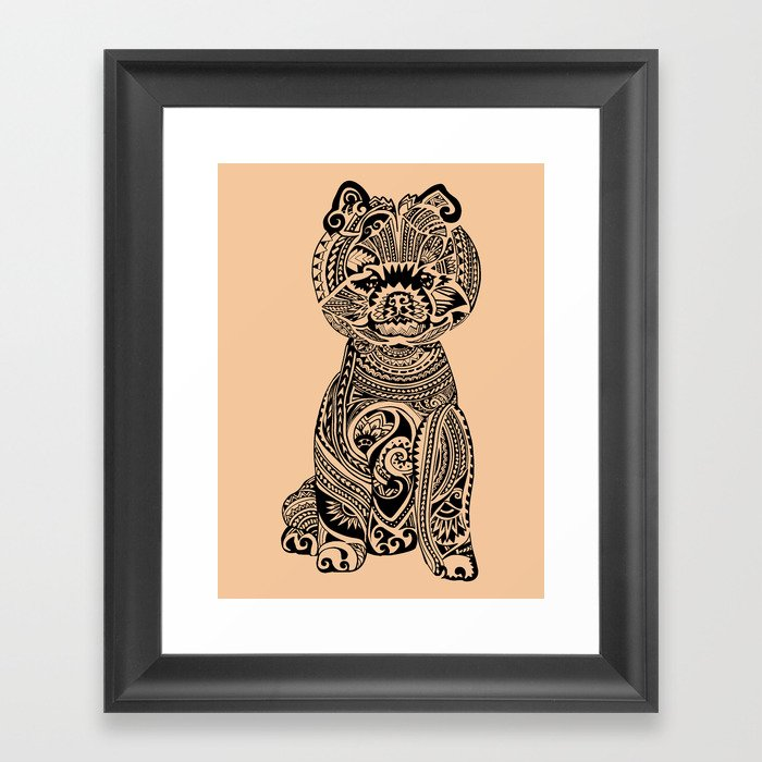 Polynesian Pomeranian Framed Art Print by huebucket | Society6