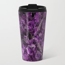 PURPLE AMETHYST CRYSTALS GREY ART Travel Mug