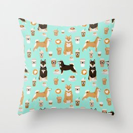 Shiba Inu coffee dog breed pet friendly pet portrait coffees pattern dogs Throw Pillow