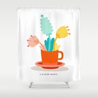cup Shower Curtains featuring Cup by Mi Jardín Secreto