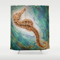 sea horse Shower Curtains featuring Sea Horse by Todd Huffine