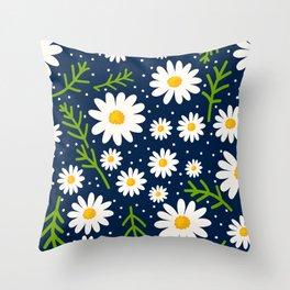 Daisies Dots Navy Blue Throw Pillow