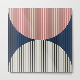 Abstraction Shapes 18 in Navy Blue Dusty Pink (Moon Phase Abstract) Metal Print
