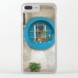 Tel Aviv - blue window on a grey wall Clear iPhone Case