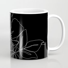 Botanical illustration one line drawing - Rose Black Coffee Mug