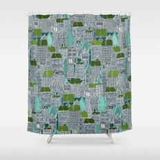 rooftop tennis Shower Curtain