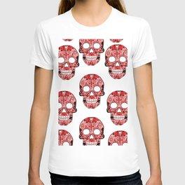 Red Skulls Pattern T-shirt