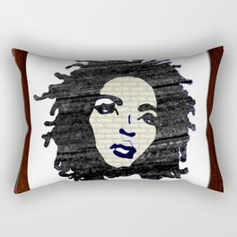 Lauryn Hill vintage fabric & wood grain patterned collage Rectangular Pillow