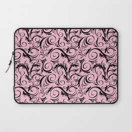 Pink & Black Flourish Pattern Laptop Sleeve