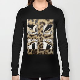 Wild | Hipster leopard Print Zebra UK Union Jack Flag  Long Sleeve T-shirt