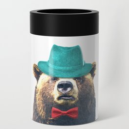 Funny Bear Illustration Can Cooler