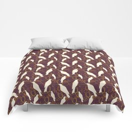 Kereru and magnolia - chocolate  Comforters