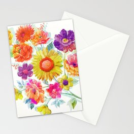 Colorful Watercolor Flowers Stationery Cards
