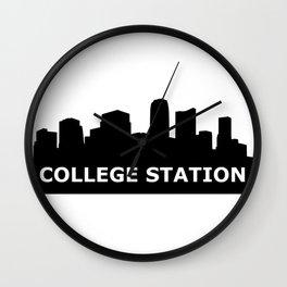 College Station Skyline Wall Clock