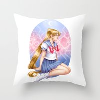 sailormoon Throw Pillows featuring Sailor moon by Roots-Love