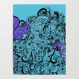 Squirrels Zentangle Drawing Poster