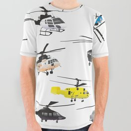 Multiple Helicopters All Over Graphic Tee