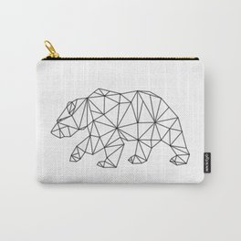 Geometric Bear in Black Carry-All Pouch