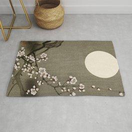 Blossoming plum tree at full moon  - Vintage Japanese Woodblock Print Art Rug