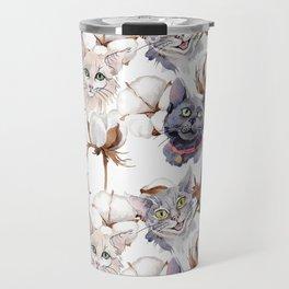 Cotton Flower & Cat Pattern 02 Travel Mug