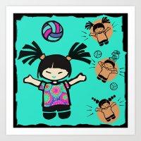 tye dye Art Prints featuring Tye Dye Volley Hi by Debbie Horton ART & Volleyball Stuff!