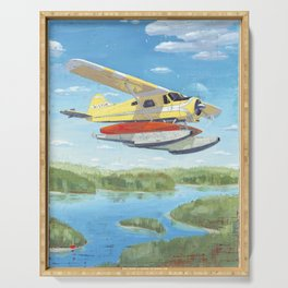 float plane - by phil art guy Serving Tray