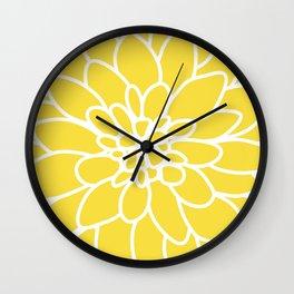 Modern Yellow Dahlia Flower Wall Clock