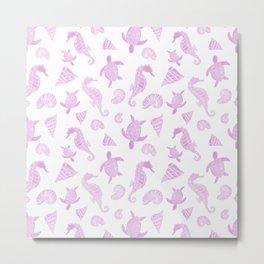Sea Creatures | Light Pink Ocean Animal Pattern Metal Print