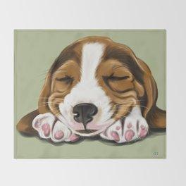 Sleeping Basset Hound Throw Blanket