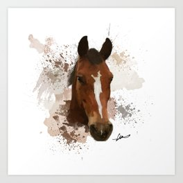 Brown and White Horse Watercolor Art Print