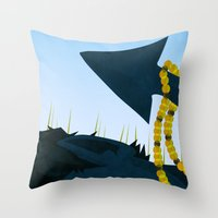 nightcrawler Throw Pillows featuring Wagner's Tail by modHero