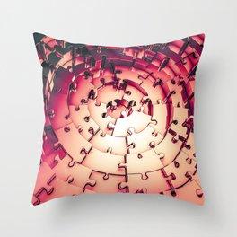 Metal Puzzle RETRO RED / 3D render of metallic circular puzzle pieces Throw Pillow