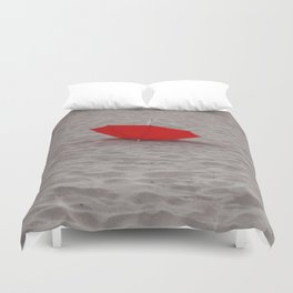 Lost red Umbrella Duvet Cover