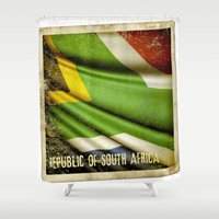 south africa Shower Curtains featuring South Africa grunge sticker flag by Lulla