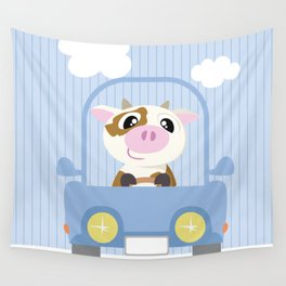 Mobil series car cow Wall Tapestry