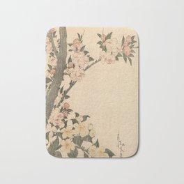 Hokusai, flowers of a cherry-tree- manga, japan,hokusai,japanese,北斎,ミュージシャン Bath Mat