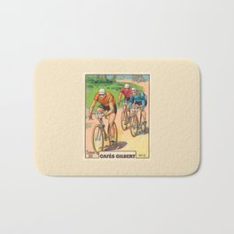 Cyclisme Cyclists Vintage Graphic Cycling Bath Mat