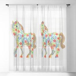 """""""caballo I"""" serie : animales dométicos. Sheer Curtain"""