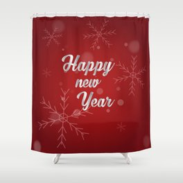 Happy holiday, Christmas sign with snow flake and christmas decoration on the red background Shower Curtain