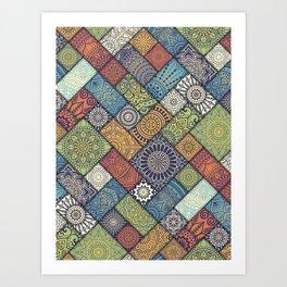 Diagonal floral tiles pattern mandala Art Print