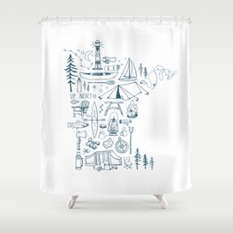 Minnesota Up North Collage Shower Curtain