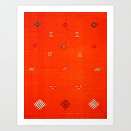(N6) Vintage Orange Anthropologie Moroccan Artwork. Art Print