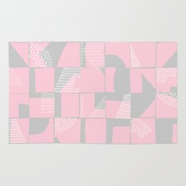 Blush and Gray Typographical Fragments Cheater Quilt Rug