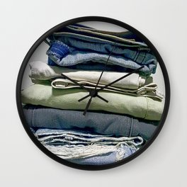 A STACK OF JEANS Wall Clock