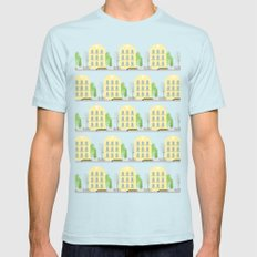 Yellow houses SMALL Mens Fitted Tee Light Blue