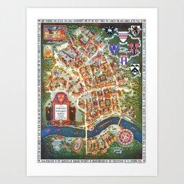 HARVARD University map MASSACHUSETTS Art Print