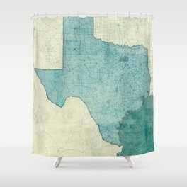 Texas State Map Blue Vintage Shower Curtain